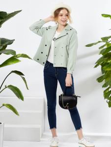 城市衣柜2017春季短款绿色外套