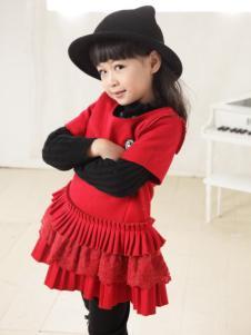 比比我童装红色连衣裙