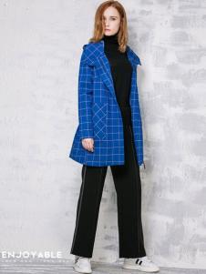 淿素女装BELLO SZ淿素女装格纹蓝色风衣外套