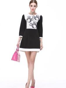 Diface丹菲诗女装黑白拼接连衣裙