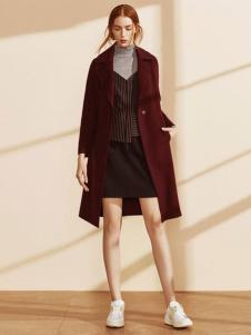 迪赛尼斯女装酒红色风衣外套