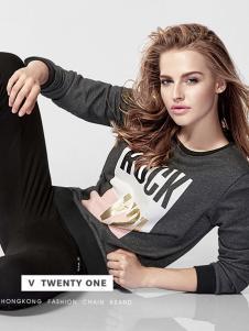 V21灰色字母图案印花休闲T恤