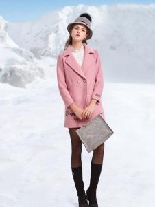 丹妮丽人粉色时尚长款大衣