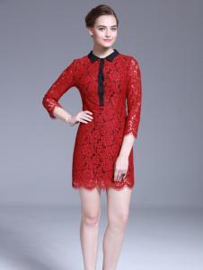 爱为女装红色蕾丝修身连衣裙