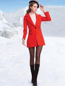 丹妮丽人红色长款大衣