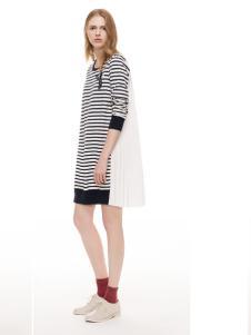 主提春季长款中袖条纹连衣裙
