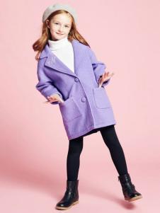 DEESHA笛莎童装紫色简约大衣