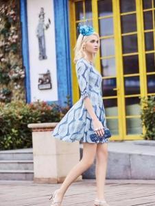 布根香女装2017春装新品收腰修身女裙