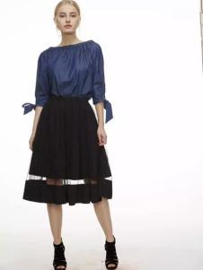 初次印象女装2017春装新款黑色A版半裙