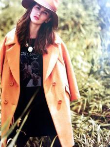 藏九女装秋冬新品橙色大翻领呢大衣