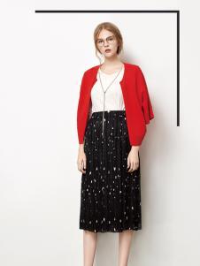 丽芮2017年春夏新品红色短款外衫
