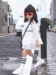 玛玛米雅女童白色雪纺裙