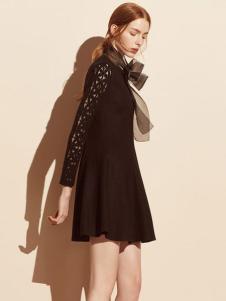 迪赛尼斯女装黑色收腰蕾丝袖女裙