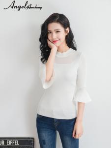 天使韩城白色雪纺荷叶袖T恤