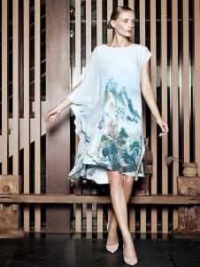 布衣斋女装春夏睡衣款水墨印花裙