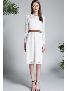 凡恩17春新款白色蕾丝连衣裙