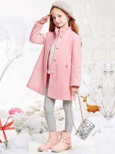 DEESHA笛莎童装粉色单排扣立领大衣