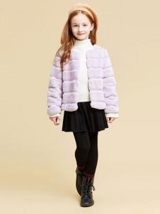 DEESHA笛莎童装女童浅紫色皮草外套