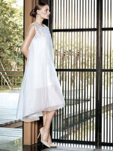 布衣斋女装春夏白色廓形无袖裙