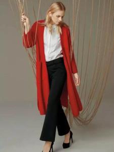帝伦奴那女装红色开衩外衫