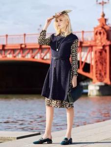 布根香女装2017春装新品针织两件套连衣裙