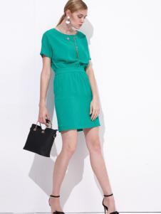 雷索思绿色束腰收身连衣裙