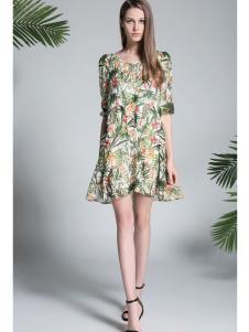 凡恩17春夏新款时尚唯美印花裙
