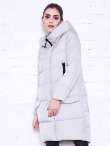 艾诺绮女装冬季新款长款连帽羽绒服