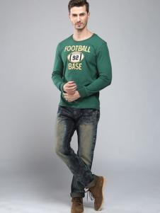 贝斯伟福路男装绿色圆领T恤