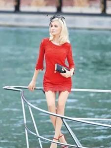 布根香女装2017春装新品红色包臀蕾丝裙