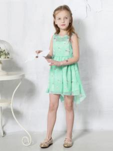贝甜童装绿色雪纺连衣裙