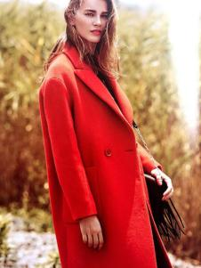 藏九女装秋冬新品红色单扣大衣