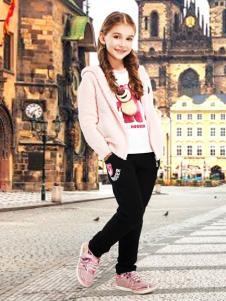 迪士尼童装粉色连帽外套