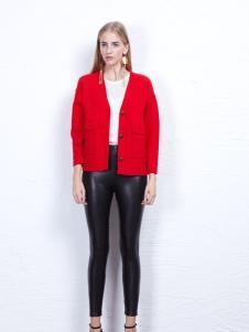丹尼布鲁红色短款时尚外套