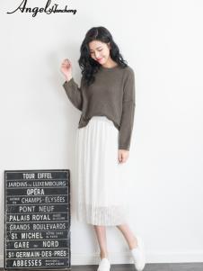 天使韩城白色雪纺假两件半裙