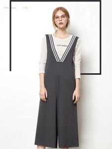 丽芮2017年春夏新品灰色背带阔腿裤