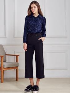 都市衣柜蓝色格纹衬衫
