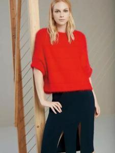 帝伦奴那女装红色中袖毛衣