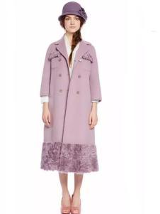 charfen朝峰女装粉紫色长款双排扣大衣