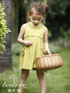 茶子树童装春夏装早绿色无袖连衣裙