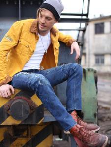 贝斯伟福路男装黄色翻领外套