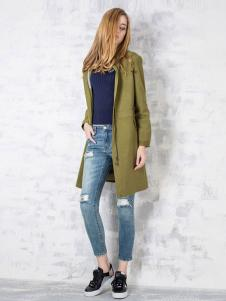 淿素女装BELLO SZ淿素女装军绿色风衣外套