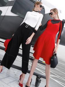 雷索思红色无袖V领A字版连衣裙