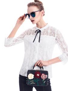 知彩17春季新款蕾丝衬衫
