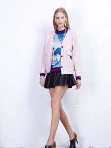 丹尼布鲁粉色时尚短款外套