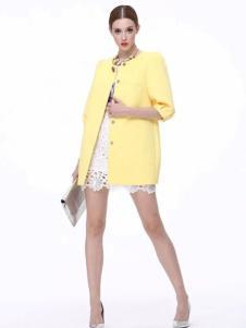 Diface丹菲诗女装黄色中长款无领外套