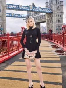 布根香女装2017春装新品黑色收腰连衣裙