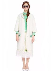 charfen朝峰女装白色口袋印花大衣