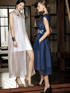 布衣斋女装春夏两件套连衣裙