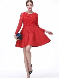 Diface丹菲诗女装红色收腰连衣裙